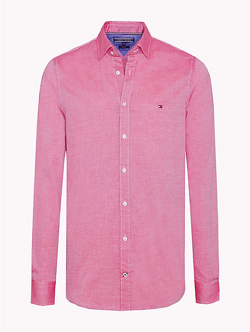 TOMMY HILFIGER Slim Fit Dobby Cotton Shirt - PERSIAN RED / BRIGHT WHITE - TOMMY HILFIGER NEW IN - main image
