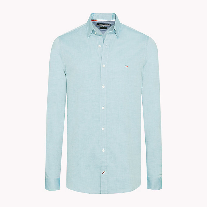 TOMMY HILFIGER Slim Fit Dobby Cotton Shirt - STRONG BLUE - TOMMY HILFIGER Men - main image