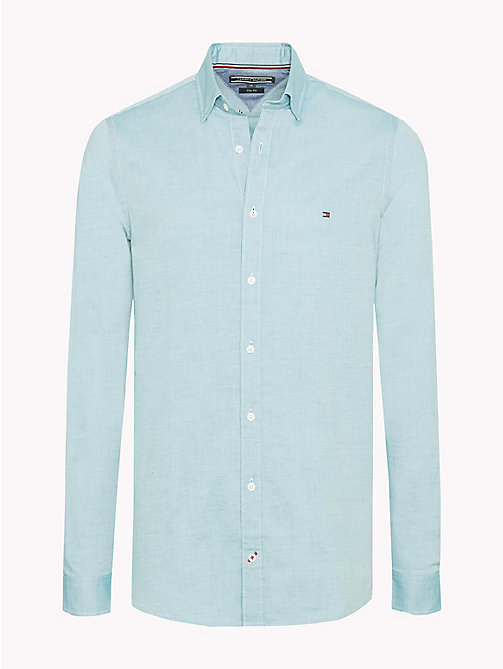 TOMMY HILFIGER Slim Fit Dobby Cotton Shirt - HARBOR BLUE / BRIGHT WHITE - TOMMY HILFIGER Casual Shirts - main image