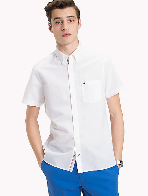 TOMMY HILFIGER Poplin slim fit overhemd met button-downkraag - BRIGHT WHITE - TOMMY HILFIGER Casual overhemden - detail image 1