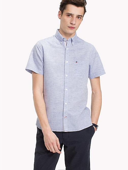 TOMMY HILFIGER Button Down Slim Fit Poplin Shirt - MAZARINE BLUE / BRIGHT WHITE - TOMMY HILFIGER NEW IN - detail image 1