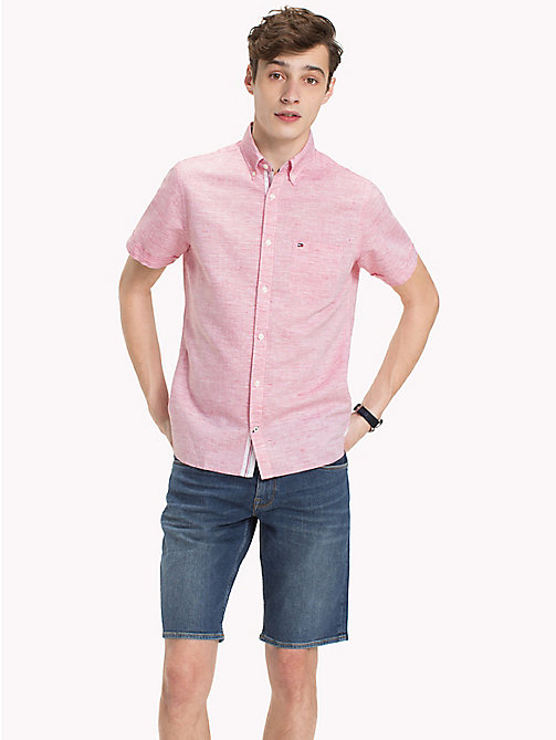 TOMMY HILFIGER Popeline-Hemd im Slim Fit mit Button-down-Kragen - GOJI BERRY / BRIGHT WHITE - TOMMY HILFIGER NEW IN - main image 1