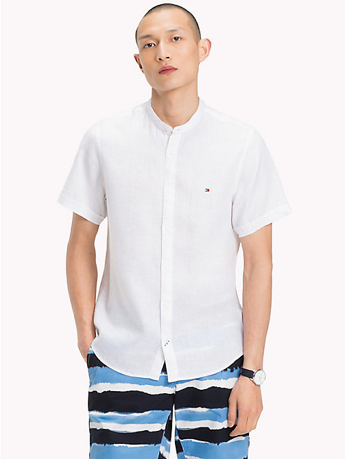TOMMY HILFIGER Mandarin Collar Short Sleeve Linen Shirt - BRIGHT WHITE - TOMMY HILFIGER Vacation Style - detail image 1