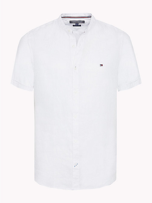 TOMMY HILFIGER Mandarin Collar Short Sleeve Linen Shirt - BRIGHT WHITE - TOMMY HILFIGER Vacation Style - main image