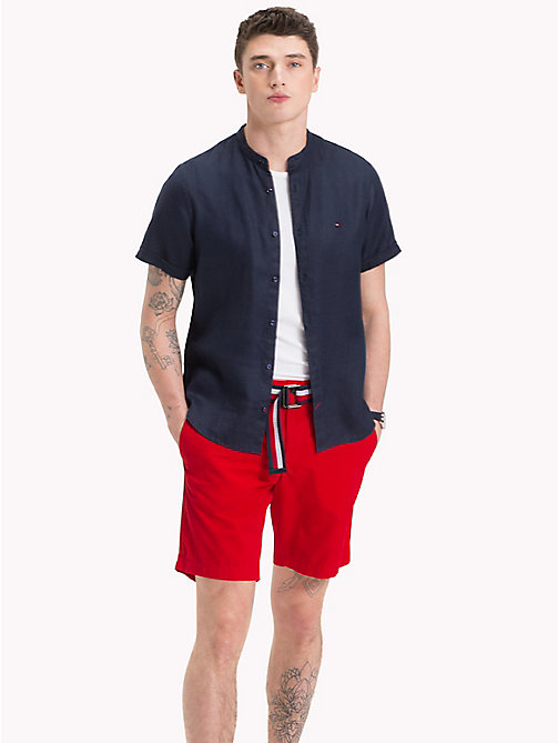 TOMMY HILFIGER Mandarin Collar Short Sleeve Linen Shirt - SKY CAPTAIN - TOMMY HILFIGER Casual Shirts - detail image 1