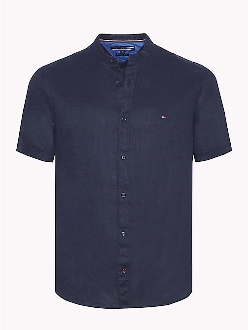 TOMMY HILFIGER Mandarin Collar Short Sleeve Linen Shirt - SKY CAPTAIN - TOMMY HILFIGER Casual Shirts - main image