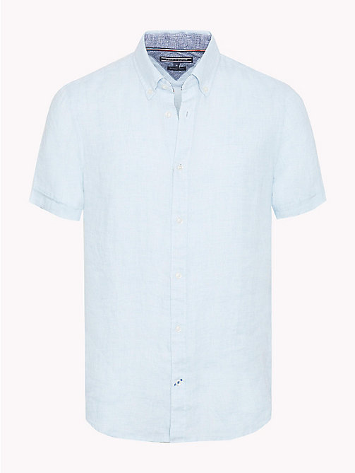 TOMMY HILFIGER Short Sleeve Slim Fit Linen Shirt - BONNIE BLUE / BRIGHT WHITE - TOMMY HILFIGER Casual Shirts - main image