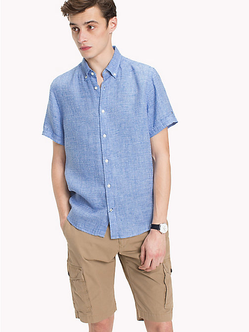 TOMMY HILFIGER Short Sleeve Slim Fit Linen Shirt - STRONG BLUE / BRIGHT WHITE - TOMMY HILFIGER Vacation Style - detail image 1