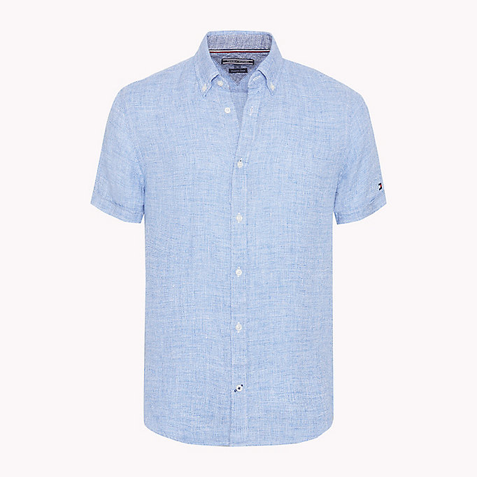 TOMMY HILFIGER Short Sleeve Slim Fit Linen Shirt - BONNIE BLUE / BRIGHT WHITE - TOMMY HILFIGER Men - main image