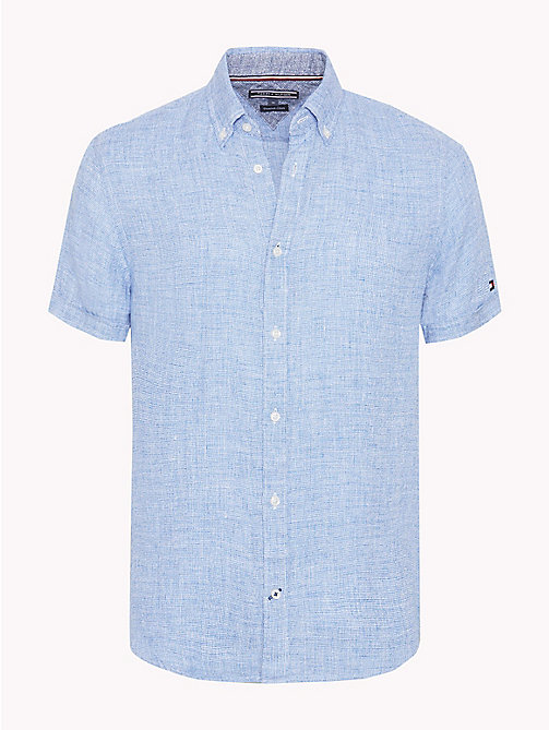 TOMMY HILFIGER Short Sleeve Slim Fit Linen Shirt - STRONG BLUE / BRIGHT WHITE - TOMMY HILFIGER Vacation Style - main image