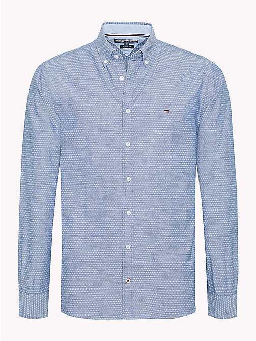 TOMMY HILFIGER Diamond Dobby Cotton Shirt - ESTATE BLUE / BRIGHT WHITE - TOMMY HILFIGER Casual Shirts - main image
