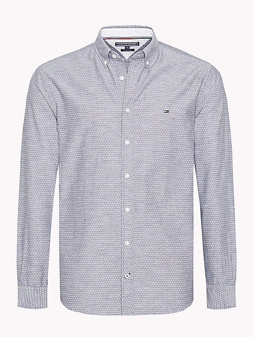 TOMMY HILFIGER Diamond Dobby Cotton Shirt - GRAY PINSTRIPE / BRIGHT WHITE - TOMMY HILFIGER Casual Shirts - main image