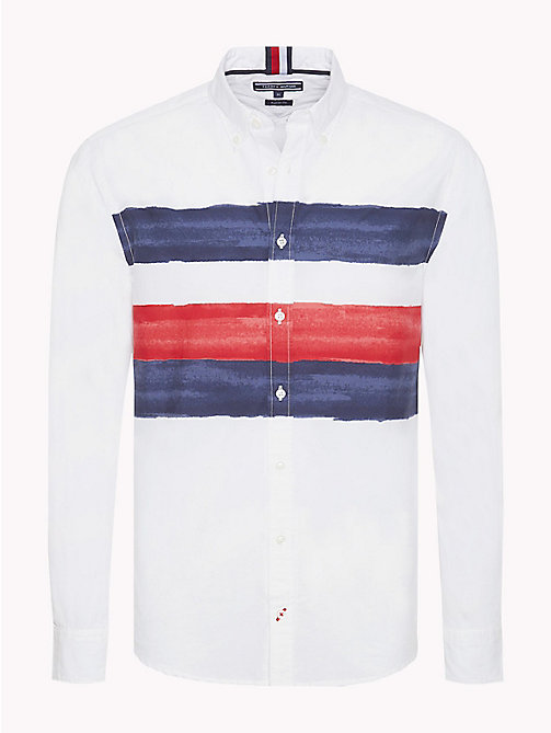 TOMMY HILFIGER Watercolour Stripe Shirt - BRIGHT WHITE / MULTI - TOMMY HILFIGER TOMMY'S PADDOCK - main image