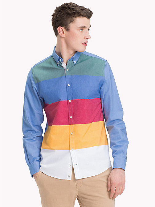 TOMMY HILFIGER Multicolour Stripe Regular Fit Shirt - FOREST BIOME / STRONG BLUE / MULTI - TOMMY HILFIGER NEW IN - detail image 1
