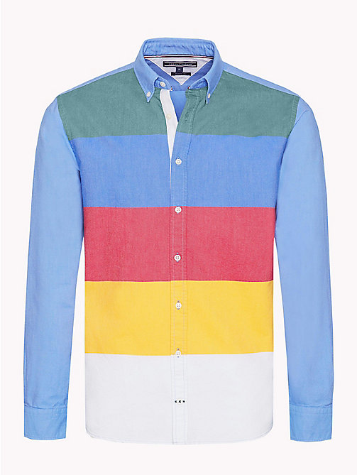 TOMMY HILFIGER Multicolour Stripe Regular Fit Shirt - FOREST BIOME / STRONG BLUE / MULTI - TOMMY HILFIGER NEW IN - main image