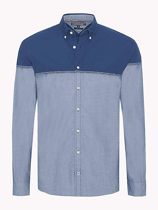 TOMMY HILFIGER Colour-Blocked Cotton Shirt - ESTATE BLUE / INDIGO - TOMMY HILFIGER Casual Shirts - main image