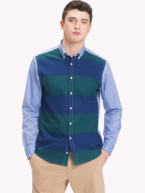TOMMY HILFIGER Bicolour Stripe Cotton Shirt - FOREST BIOME / ESTATE BLUE / MULTI - TOMMY HILFIGER NEW IN - detail image 1
