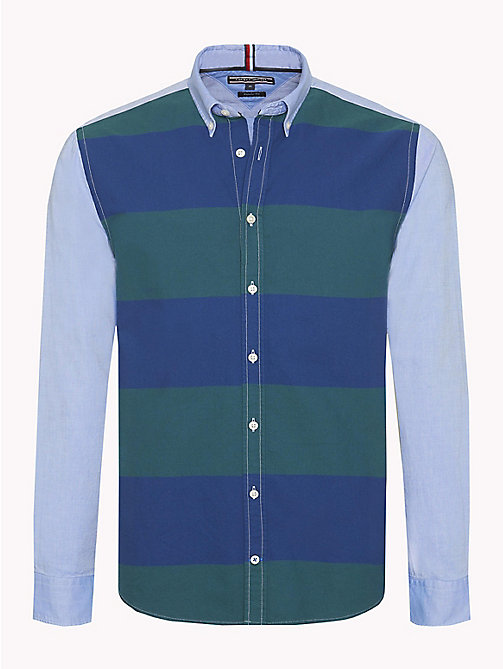 TOMMY HILFIGER Bicolour Stripe Cotton Shirt - FOREST BIOME / ESTATE BLUE / MULTI - TOMMY HILFIGER NEW IN - main image