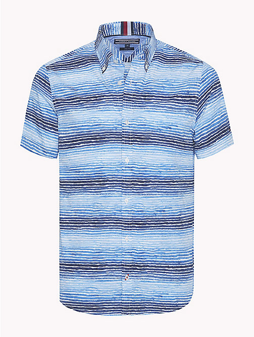 TOMMY HILFIGER Watercolour Stripe Short Sleeve Shirt - MARITIME BLUE / STRONG BLUE - TOMMY HILFIGER Vacation Style - main image
