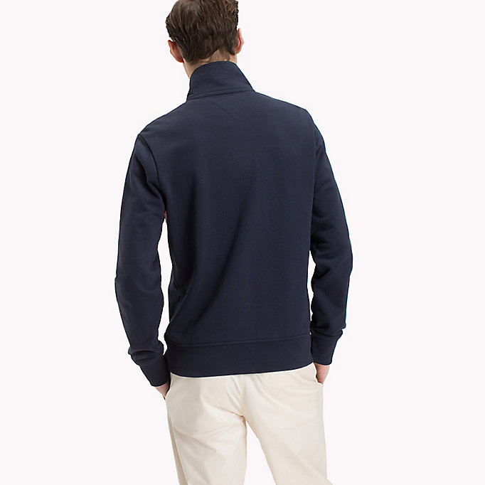 TOMMY HILFIGER Zip Thru Stripe Sweater - CLOUD HTR - TOMMY HILFIGER Men - detail image 1