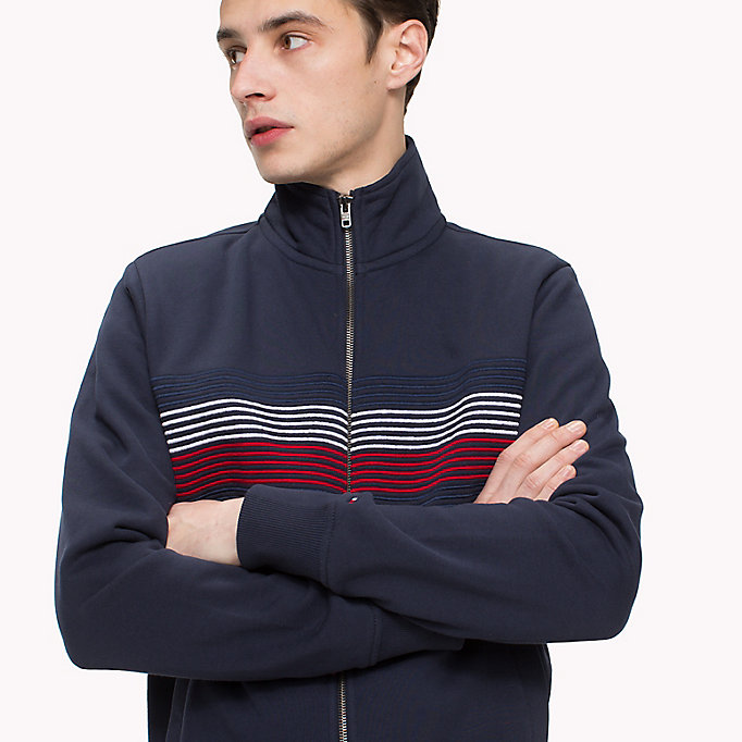 TOMMY HILFIGER Zip Thru Stripe Sweater - CLOUD HTR - TOMMY HILFIGER Men - detail image 2