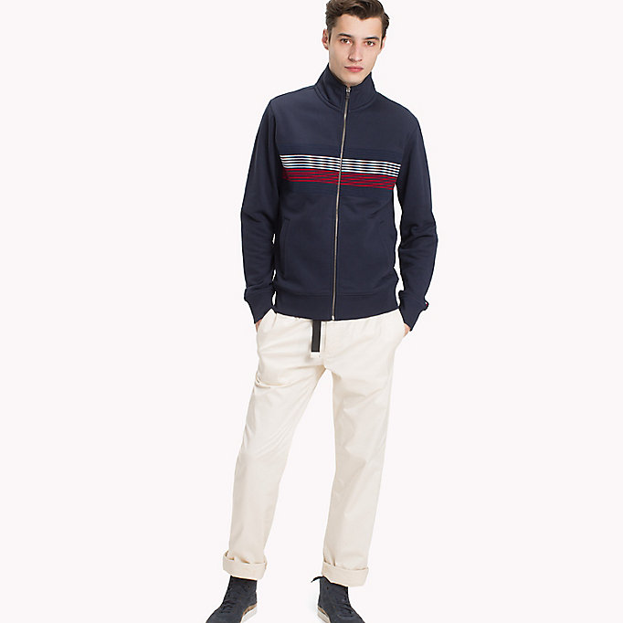 TOMMY HILFIGER Zip Thru Stripe Sweater - CLOUD HTR - TOMMY HILFIGER Men - main image
