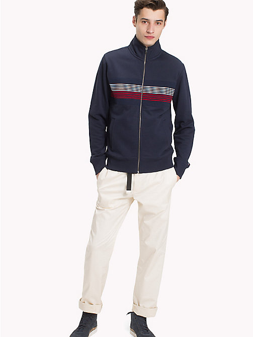 TOMMY HILFIGER Zip Thru Stripe Sweater - NAVY BLAZER - TOMMY HILFIGER Clothing - main image