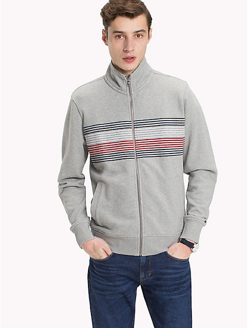 TOMMY HILFIGER Zip Thru Stripe Sweater - CLOUD HTR - TOMMY HILFIGER Sweatshirts - main image