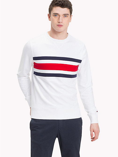TOMMY HILFIGER Signature Stripe Sweatshirt - BRIGHT WHITE - TOMMY HILFIGER Clothing - main image