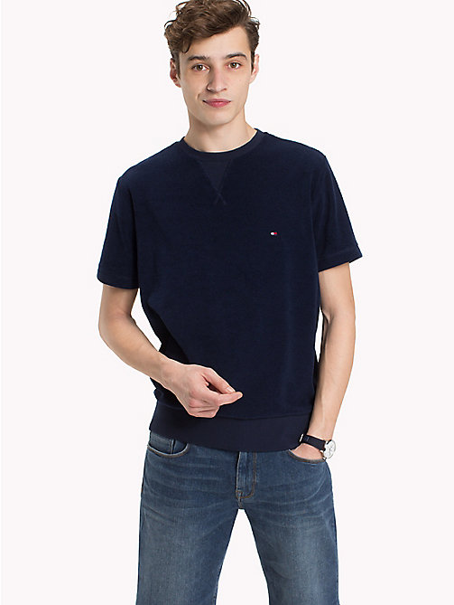 TOMMY HILFIGER Short Sleeved Towelling Sweatshirt - MARITIME BLUE - TOMMY HILFIGER Clothing - main image