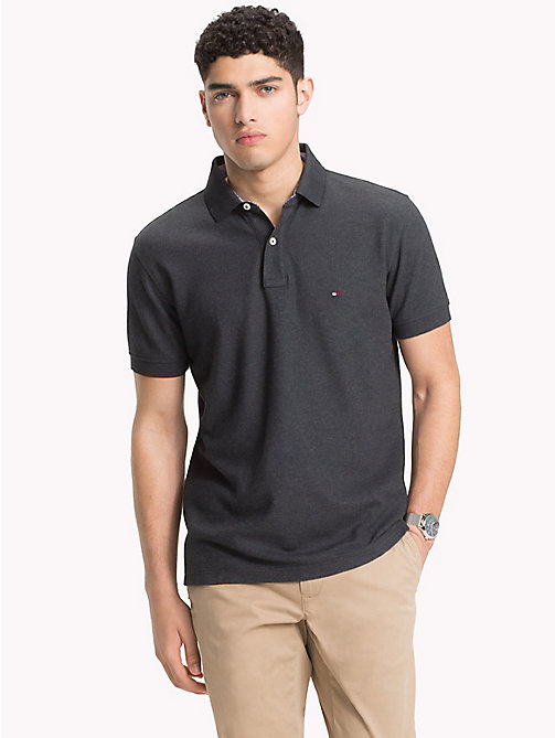 TOMMY HILFIGER Pure Cotton Polo Shirt - CHARCOAL HTR - TOMMY HILFIGER Polo Shirts - main image