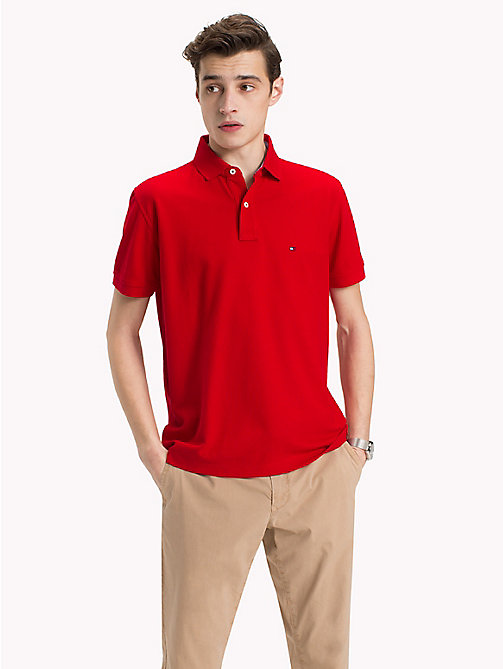 TOMMY HILFIGER Pure Cotton Polo Shirt - GOJI BERRY - TOMMY HILFIGER Vacation Style - main image