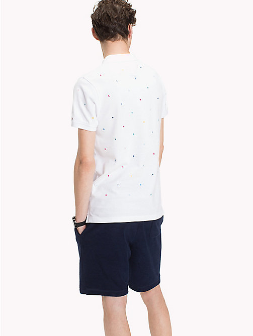 TOMMY HILFIGER Slim fit polo met geborduurde letters - BRIGHT WHITE -  Polo's - detail image 1