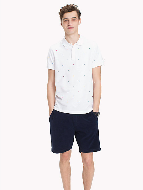 TOMMY HILFIGER Embroidered Slim Fit Polo Shirt - BRIGHT WHITE - TOMMY HILFIGER Vacation Style - main image