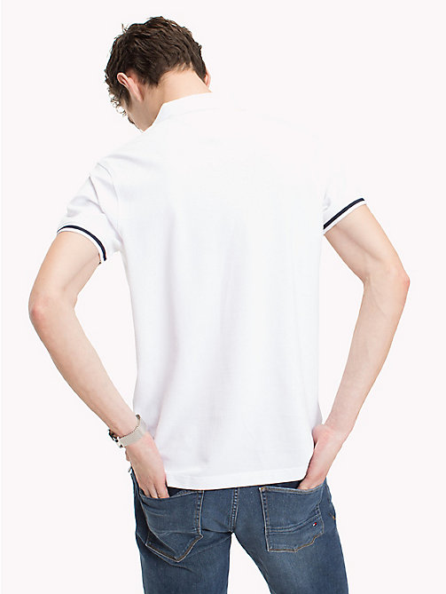 TOMMY HILFIGER Tipped Slim Fit Polo Shirt - BRIGHT WHITE - TOMMY HILFIGER Polo Shirts - detail image 1