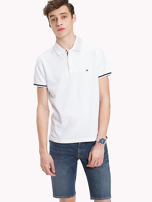 TOMMY HILFIGER Polo slim fit con bordi - BRIGHT WHITE - TOMMY HILFIGER Polo - immagine principale