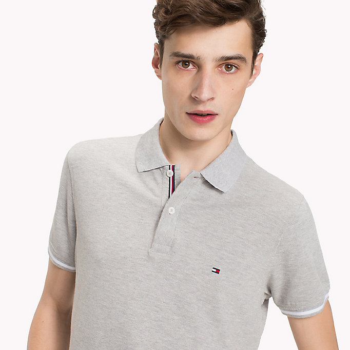 TOMMY HILFIGER Tipped Slim Fit Polo Shirt - BRIGHT WHITE - TOMMY HILFIGER Men - detail image 2