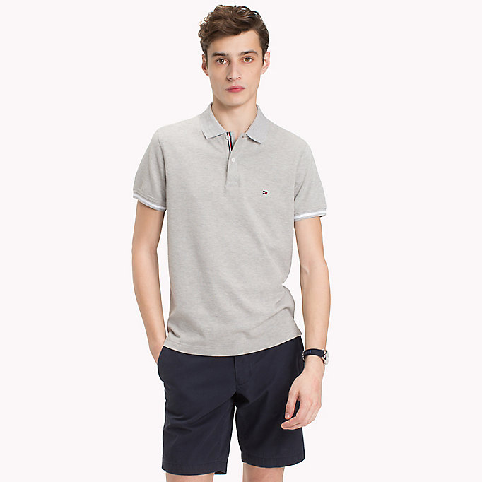 TOMMY HILFIGER Tipped Slim Fit Polo Shirt - BRIGHT WHITE - TOMMY HILFIGER Men - main image