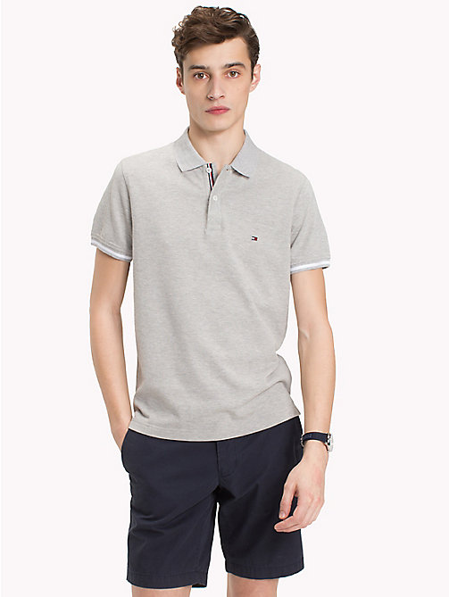 TOMMY HILFIGER Tipped Slim Fit Polo Shirt - CLOUD HTR - TOMMY HILFIGER Polo Shirts - main image