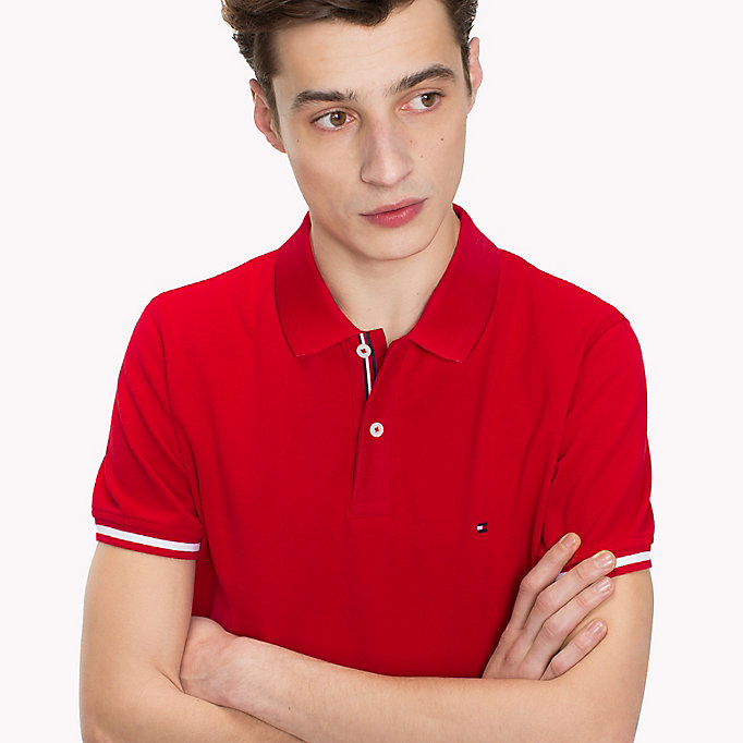 TOMMY HILFIGER Tipped Slim Fit Polo Shirt - CLOUD HTR - TOMMY HILFIGER Men - detail image 2