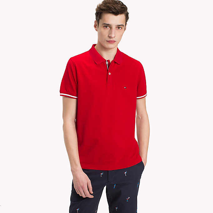 TOMMY HILFIGER Tipped Slim Fit Polo Shirt - CLOUD HTR - TOMMY HILFIGER Men - main image