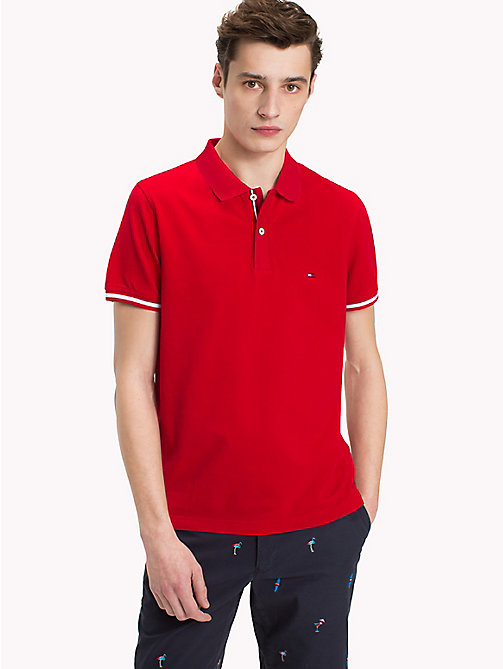 TOMMY HILFIGER Tipped Slim Fit Polo Shirt - HAUTE RED - TOMMY HILFIGER Polo Shirts - main image