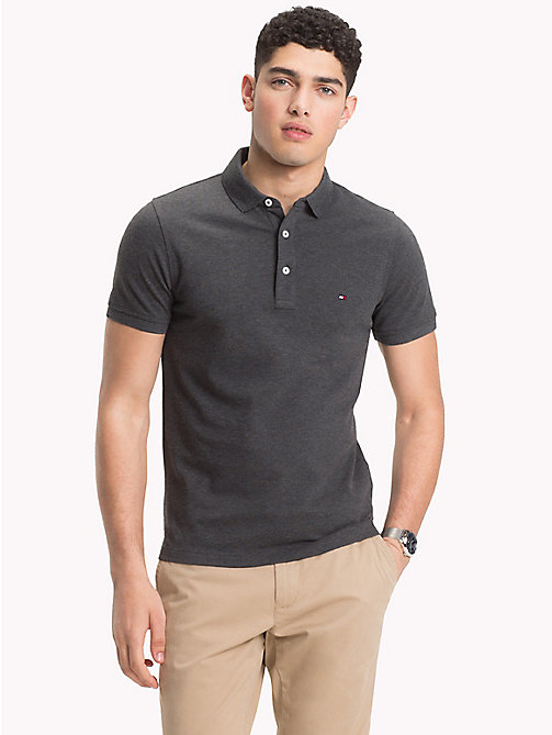 TOMMY HILFIGER Pure Cotton Polo - CHARCOAL HTR - TOMMY HILFIGER NEW IN - main image
