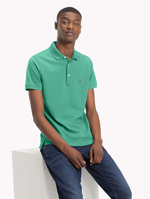TOMMY HILFIGER Slim Fit Polo Shirt - MINT LEAF - TOMMY HILFIGER Polo Shirts - main image