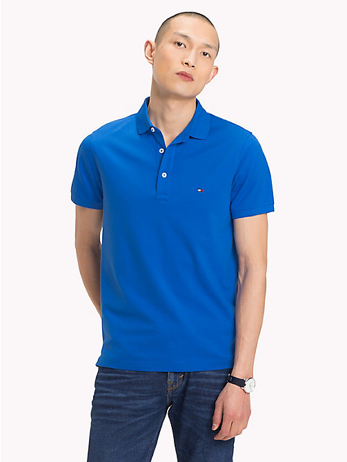 TOMMY HILFIGER Slim Fit Polo Shirt - STRONG BLUE - TOMMY HILFIGER Polo Shirts - main image