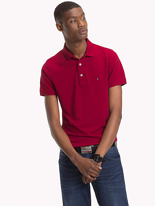TOMMY HILFIGER Pure Cotton Polo - RHUBARB - TOMMY HILFIGER Polo Shirts - main image