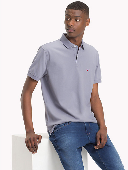 TOMMY HILFIGER Pure Cotton Pique Polo Shirt - QUICKSILVER - TOMMY HILFIGER Polo Shirts - main image