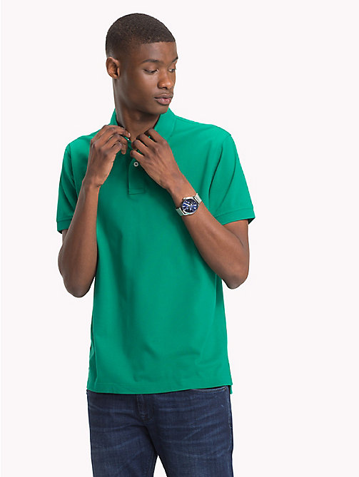 TOMMY HILFIGER Pure Cotton Pique Polo Shirt - ULTRAMARINE GREEN - TOMMY HILFIGER Polo Shirts - main image