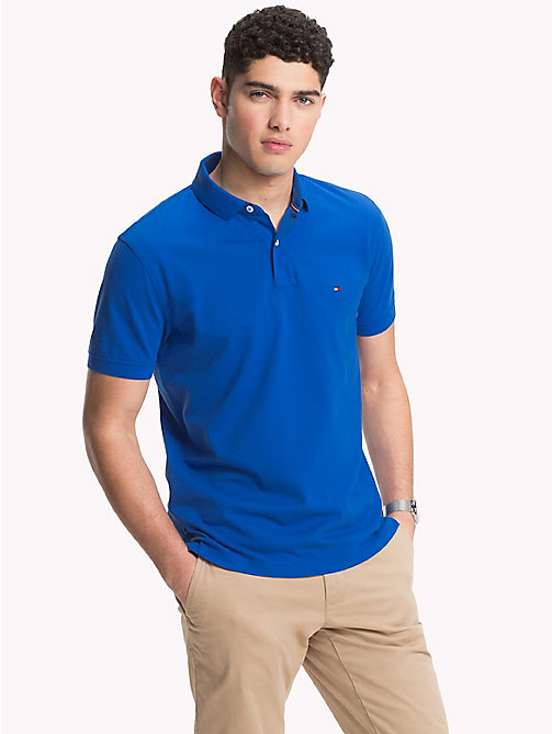 TOMMY HILFIGER Pure Cotton Pique Polo Shirt - BLUE LOLITE - TOMMY HILFIGER NEW IN - main image