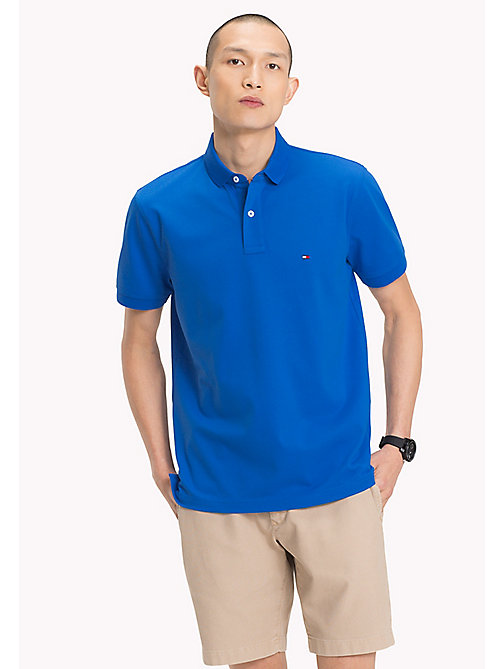 TOMMY HILFIGER Pure Cotton Pique Polo Shirt - STRONG BLUE - TOMMY HILFIGER Vacation Style - main image